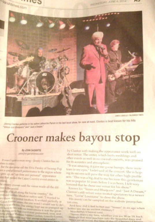 Tri-Parish Times Crooner Makes Bayou Stop